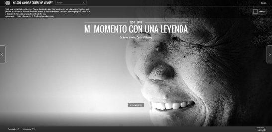 Captura de pantalla del web especial de Google sobre Nelson Mandela